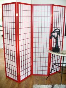 Red Shoji Oriental Screen