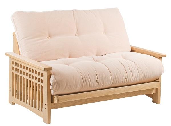 Akino 2 seat futon sofa bed in oak for Futon and mattress world tulsa