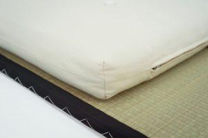 Corner detailing of the Monk Bed Roll - handmade in Devon