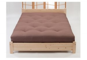 Traditional futon mattress on pine bed slatted frame